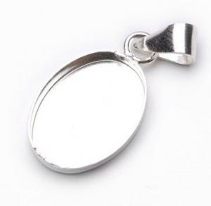 Bezel Oval Pendant Sterling Silver 10x14mm