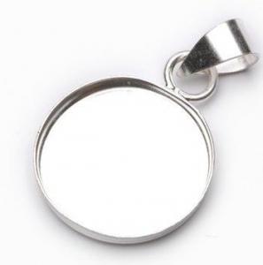 Bezel Round Pendant Sterling Silver 14mm