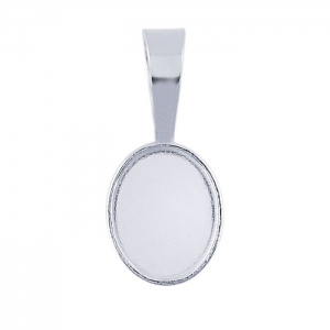 Pendant Oval Bezel Cup 10x14mm Sterling Silver