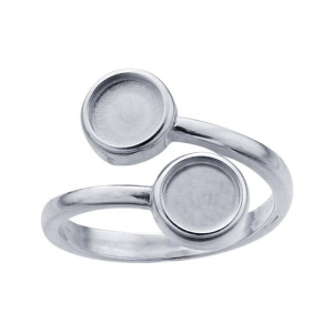 Ring Twin Round 6mm Sz9 Sterling Silver