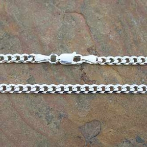 Chain Curb D/C Bevel 3.5mm x 60cm Sterling Silver