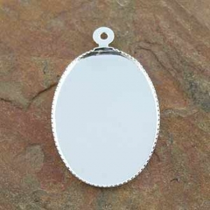 Pendant Bezel Oval 25x18mm Silver Plated.