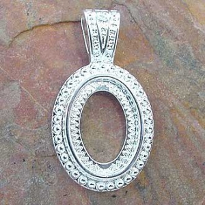 Pendant Bezel Oval 10x14mm Silver Plated