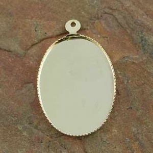 Pendant Bezel Oval 25x18mm Gold Plated