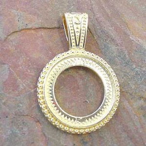 Pendant Bezel Rnd 16mm Gold Plated