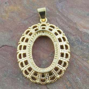 Pendant Cabochon Setting Oval 25x18mm Gold Plated.