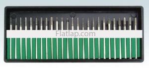 Diamond Bur Set Electroplated 2.35mm (3/32'') 30 Pce