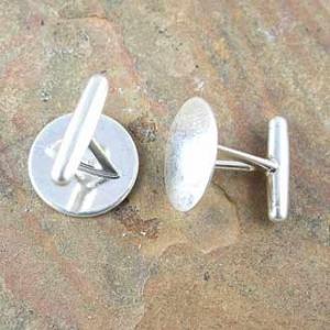 Cufflink 13.8mm Pad Sterling Silver